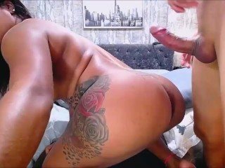 Latin ladyboy getting drilled and creampied in her massive ass