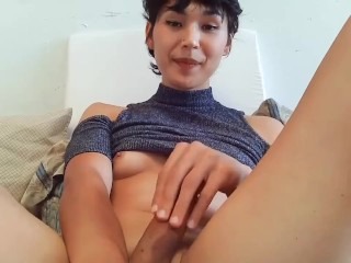 Hot Brunette tranny Transgender Trans with small titties cums twice solo