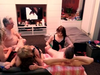 Amateur shemale Orgy Part 2 with 4 whores and 2 guys.
