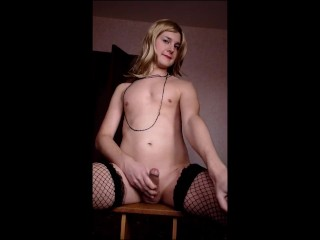 pretty sissy femboy crossdresser jerk off