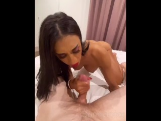Teasing and blowing my Brother-in-law (Cums in my mouth)