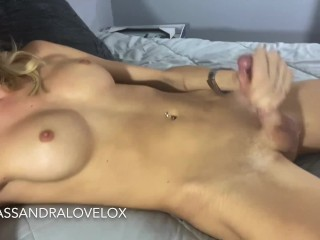 pretty Trans gives JOI CEI - huge CumShot