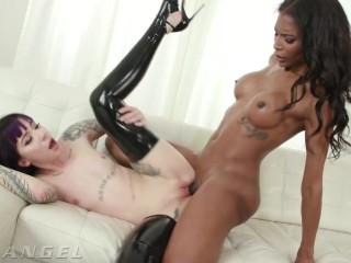 PansexualX - Goth Charlotte booty fucked By pretty black tgirl Natassia Dreams