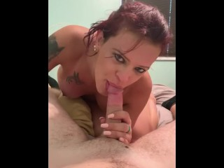 attractive trans babe sucking dick down her throat