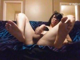 Trans CatGirl Shows butt, Feet, meat and Cums