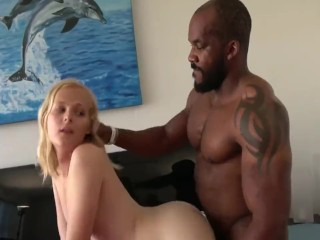 Hot Blond transexual gets her hot white sleazy ass torn up by ebony Daddy's BBC