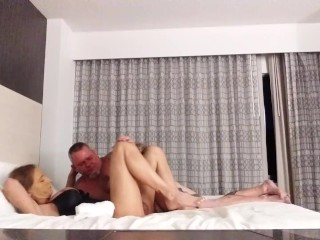Escort busty t-girl babe playing with wide guy -KimberlyGeorge-