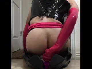 Rubber Doll rides dildo and cums on himself