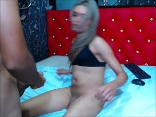ravishing transsexual having 69 and anal sex with a fan