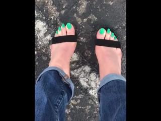 Public Cum-Neon Green Toes in Heels