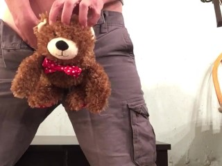 Plushie fuck and FTM empties bladder inside of it.