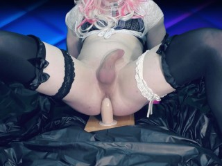 Femboy mounts a enormous dildo and cums up with prostate massage ( fuck anal )