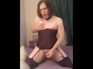 Collared Trans in Purple Corset Stroking