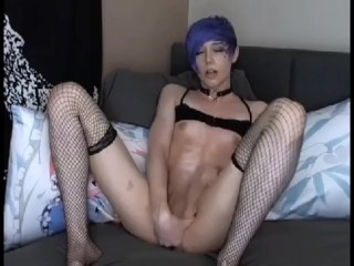young Trans slut cums on cam pt2