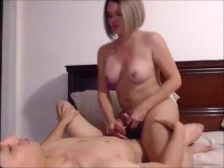 Blond shecock and her boyfriend - cock 2 cock