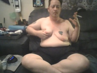 Chubby FTM Trans guy Sits And Plays With tits, Burns Nipples, and Stretches Udders - BDSM Solo